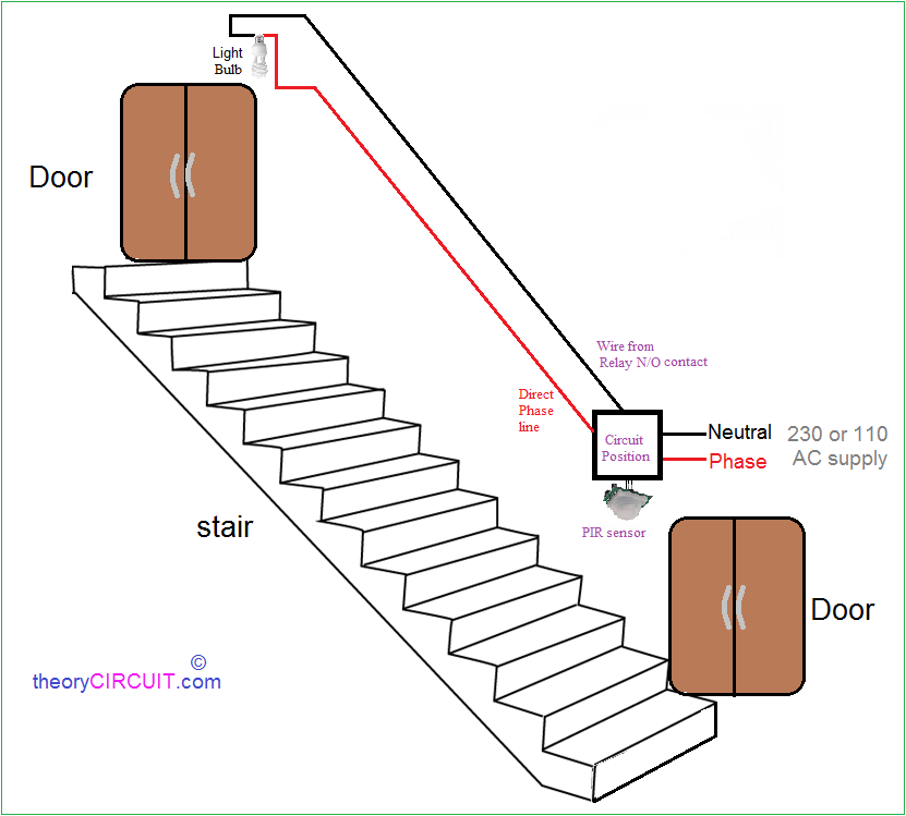motion sensor light wiring diagram uk double pole thermostat automatic staircase using pir