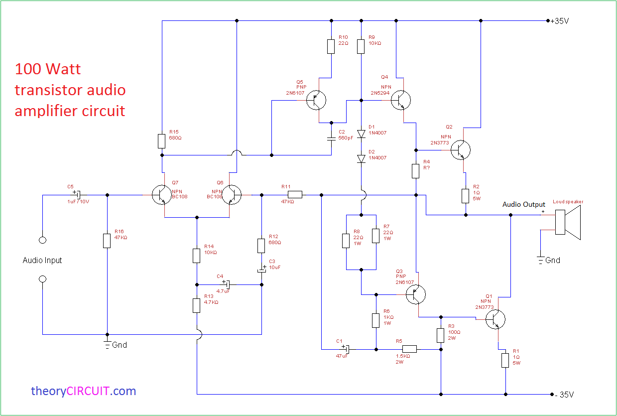 100w subwoofer amplifier circuit diagram simple electric guitar wiring 100 watt transistor audio