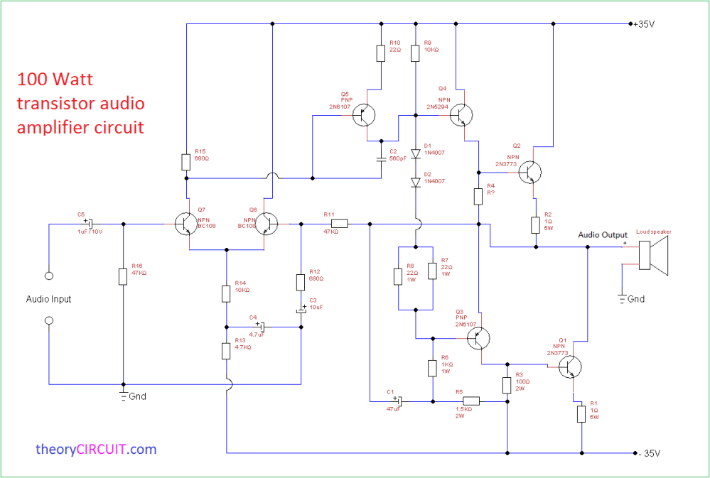 medium resolution of circuit diagram 100 watt transistor audio amplifier