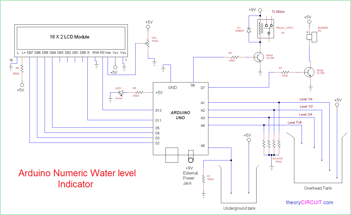 simple circuit diagram gibson guitar wiring arduino numeric water level indicator and controller