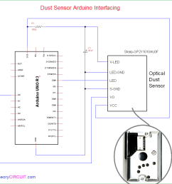 connect the dust sensor with arduino board as illustrated here the 3 3v from arduino board is given to sensor vcc pin and v led through 100 resistor  [ 952 x 890 Pixel ]