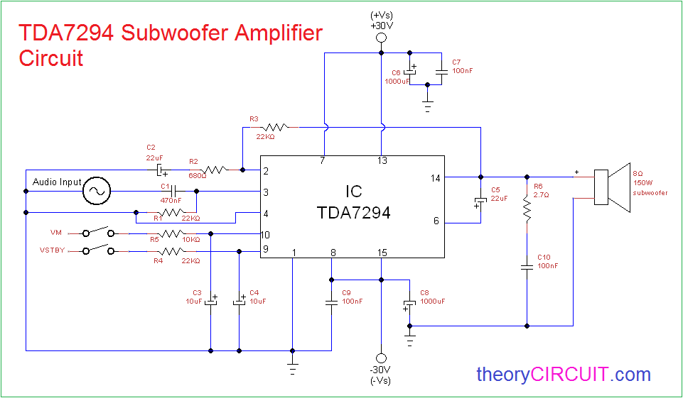 100w subwoofer amplifier circuit diagram acme transformer wiring diagrams tda7294