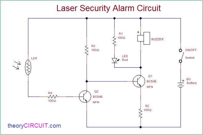 laser security alarm circuit