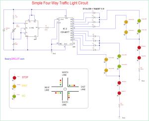 Simple Four Way Traffic Light Circuit