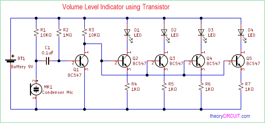 Sound Audio Level Led Meter Circuit Diagram