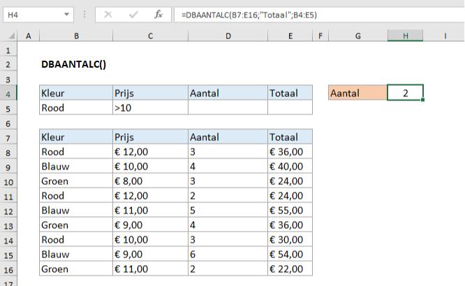 De Excel DBAANTALC functie uitgelegd