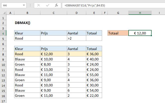 DBMAX functie in Excel uitgelegd