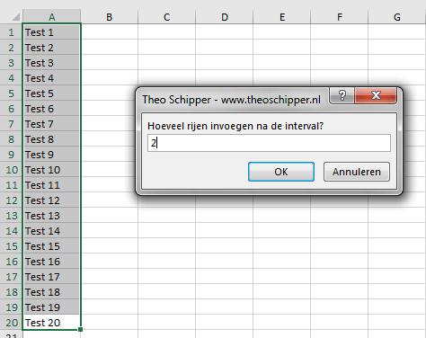 Excel aantal rijden invoegen