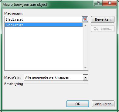 Excel Macro toewijzen