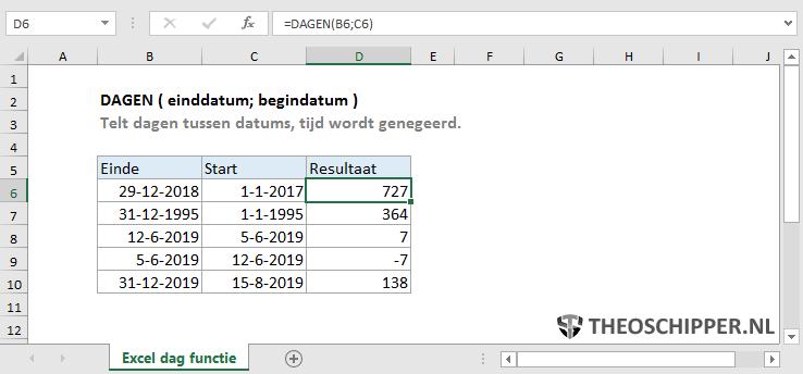 Excel DAGEN functie
