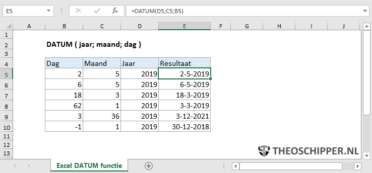Excel DATUM functie