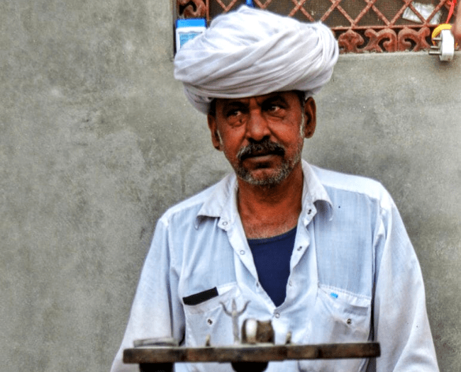 An elderly person from Bishnoi community