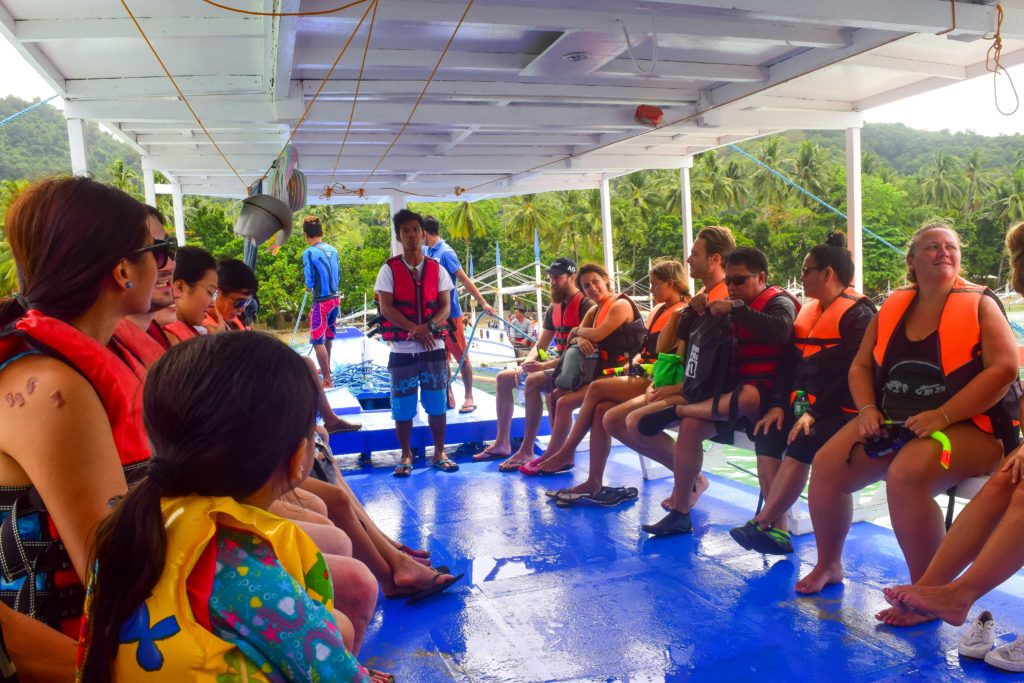 el nido guests in the boat