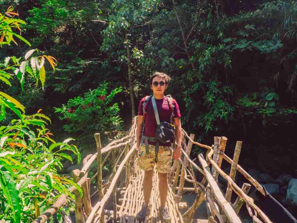 photo on the bamboo bridge in tanawan falls