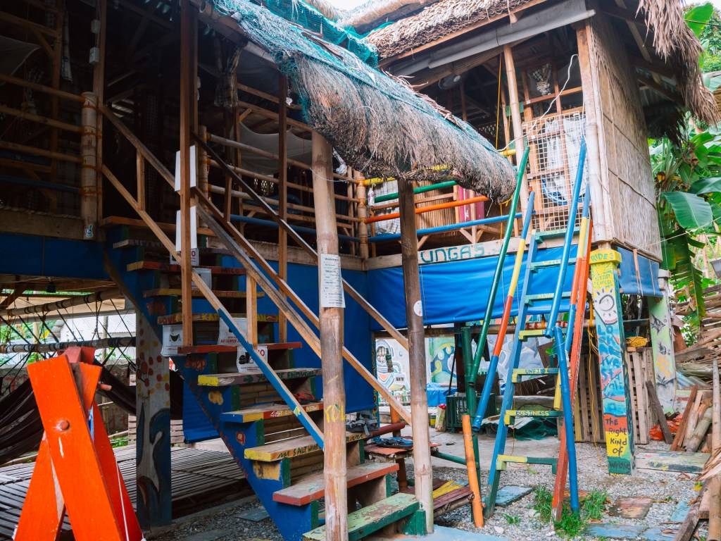 The colorful nipa hut style Circle Hostel in La Union.