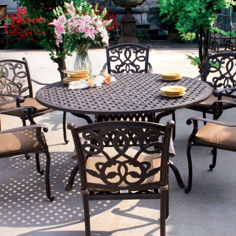 darlee santa monica 7 piece cast aluminum patio dining set with round table