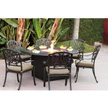 Patio Dining Set with Fire Pit Table