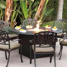 Darlee Elisabeth 7 Piece Fire Pit Dining Set - Cast Aluminum
