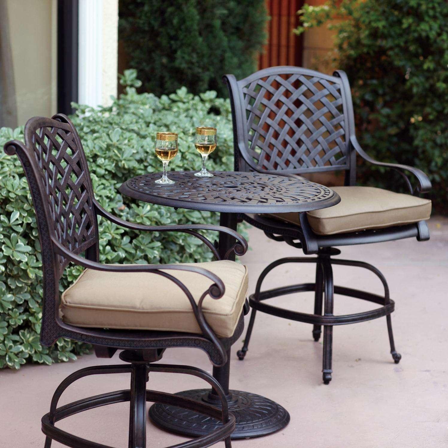 darlee nassau 3 piece cast aluminum patio counter height bar set with swivel bar stools