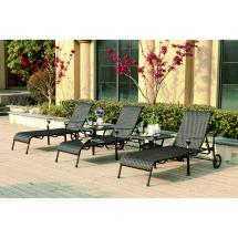 Darlee Victoria 5 Piece Resin Wicker Patio Chaise Lounge Set