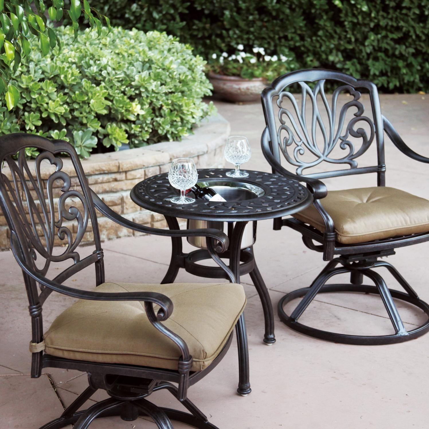 outdoor bistro chairs brown adirondack darlee elisabeth 3 piece cast aluminum patio set