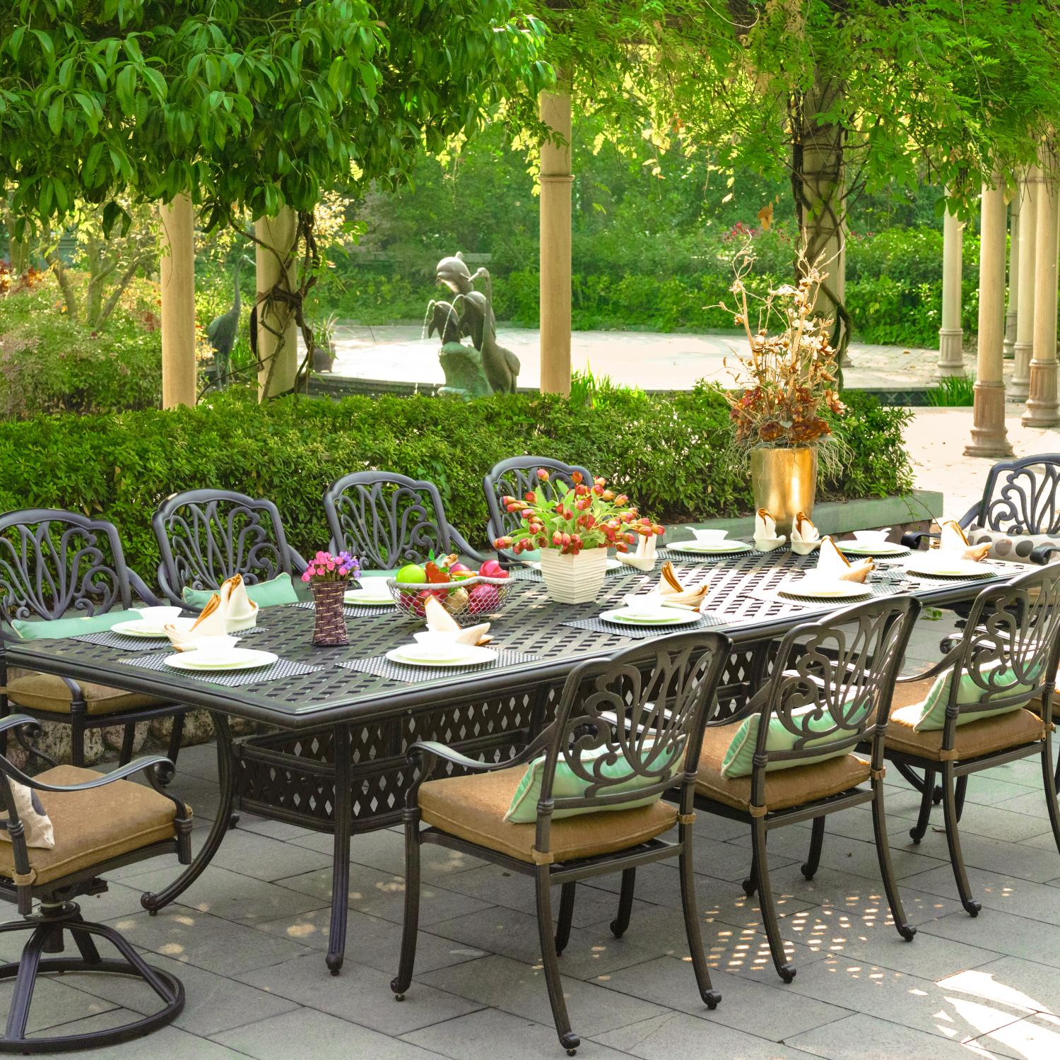 Darlee Elisabeth 11 Piece Cast Aluminum Patio Dining Set