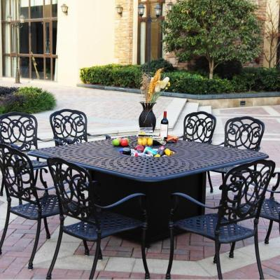 Darlee Florence 9 Piece Cast Aluminum Patio Fire Pit Dining Set