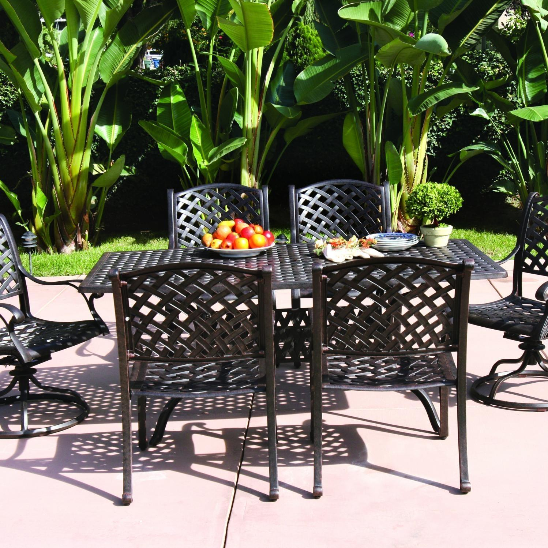 darlee nassau 7 piece cast aluminum patio dining set with 2 swivel rockers