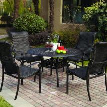 Darlee Victoria 5 Piece Resin Wicker Patio Dining Set