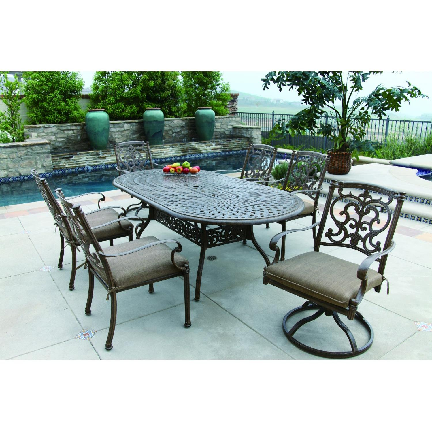 Darlee Santa Barbara 7 Piece Cast Aluminum Patio Dining Set