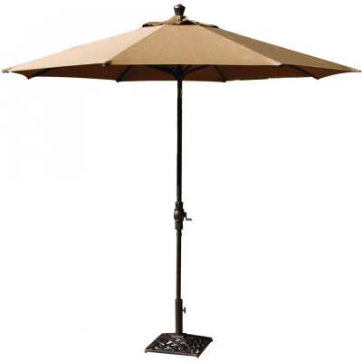 Darlee 9-Ft Bar Height Market Umbrella With Autotilt - Brown