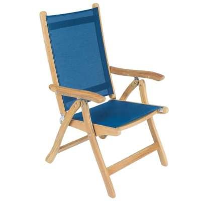 Royal Teak Collection Navy Florida Sling Adjustable Arm Dining Chair