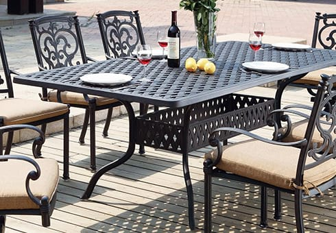 outdoor tables at the outdoor store