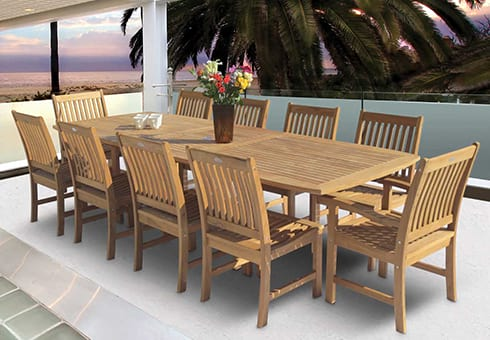 teak and wood outdoor patio furniture at the outdoor store