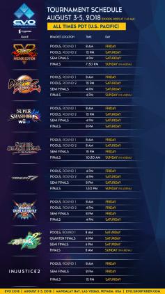 EVO 2018 game schedule.