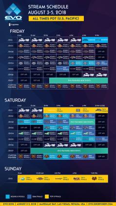 EVO 2018 streaming schedule