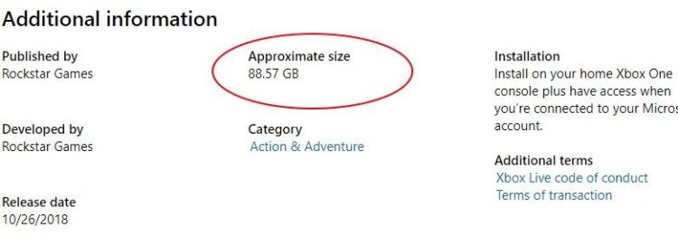 Red Dead Redemption 2 is 88GB