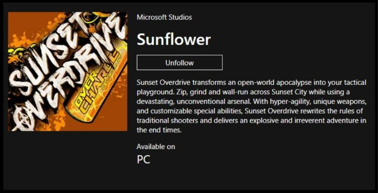 Sunset Overdrive On the Windows Store