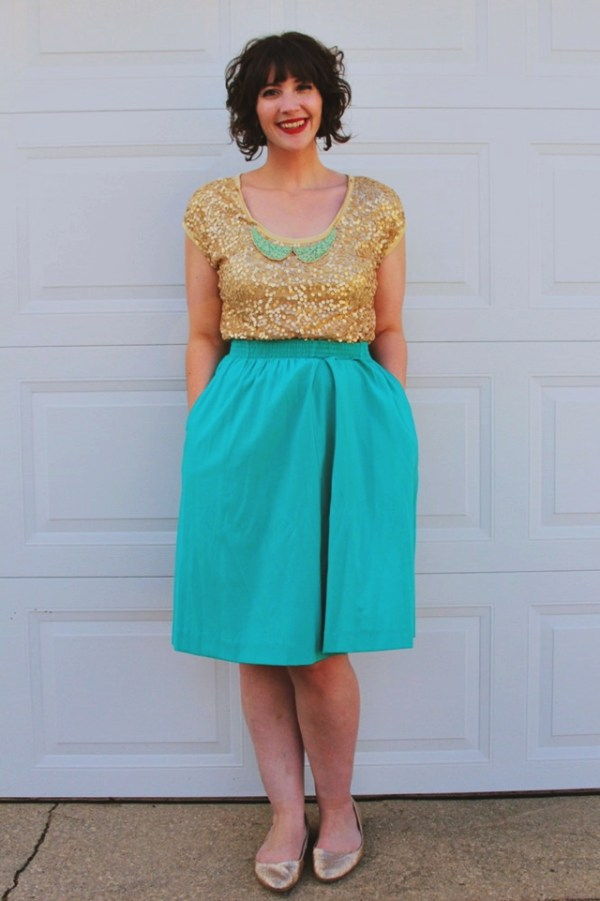 Outfit: Gold sequin tee, teal skirt, looks like a mermaid.