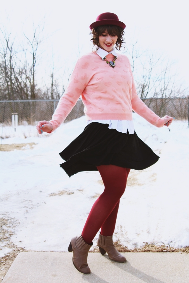 hannah rupp the outfit repeater valentine's day outfit heart sweater thrifted