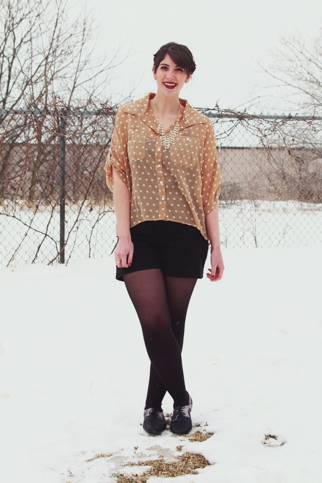 hannah rupp the outfit repeater vintage inspired winter outfit polka dots