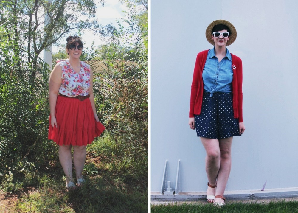 summer outfit ideas full red skirt and floral tank top, blue polka dot shorts for 4th of july