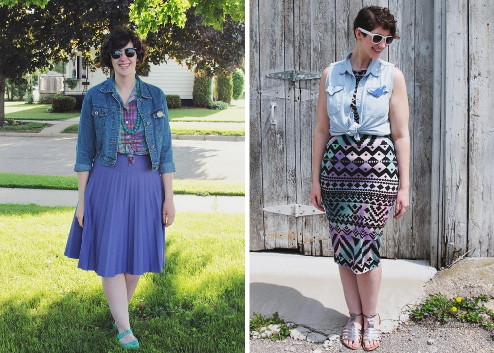 summer outfit ideas purple skirt and purple dress