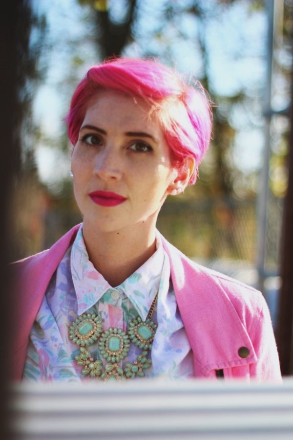 Outfit details: Pink pixie cut, $1 Walmart statement necklace, bright pink lipstick by YSL