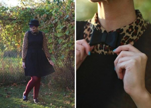 Outfit: leopard print blouse, black dress, burgundy tights, brogues, pork pie hat, DIY bow tie