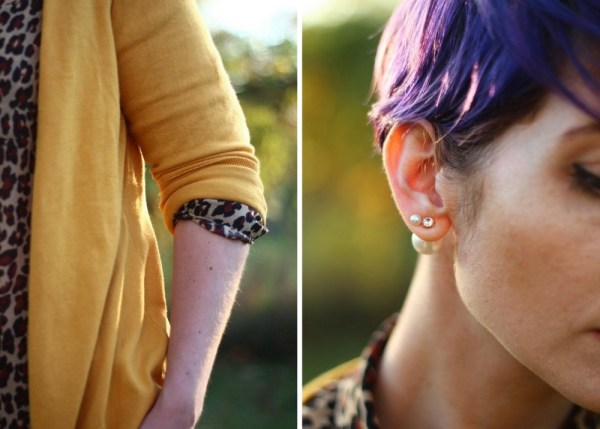 Outfit details: Leopard print blouse, mustard cardigan, purple pixie hair cut, Forever21 pearl ear jacket