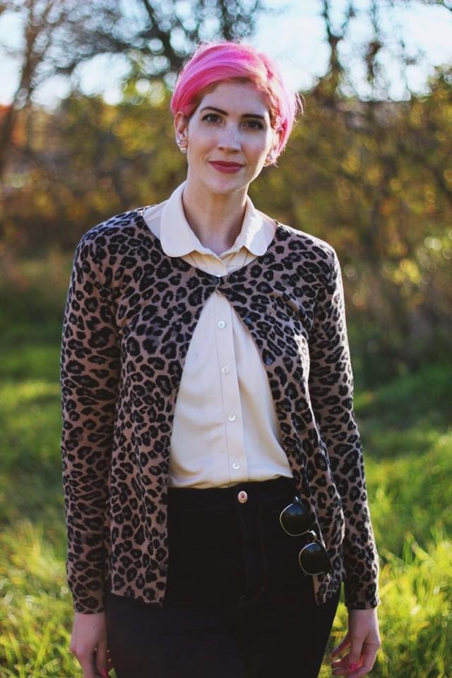 Outfit: Peach grandma blouse, leopard print cardigan, pink pixie cut