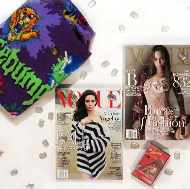 November Monthly Thrift Haul: Goosebumps bed sheet, Vogue magazines, Sheena Easton cassette tape, craft jewels