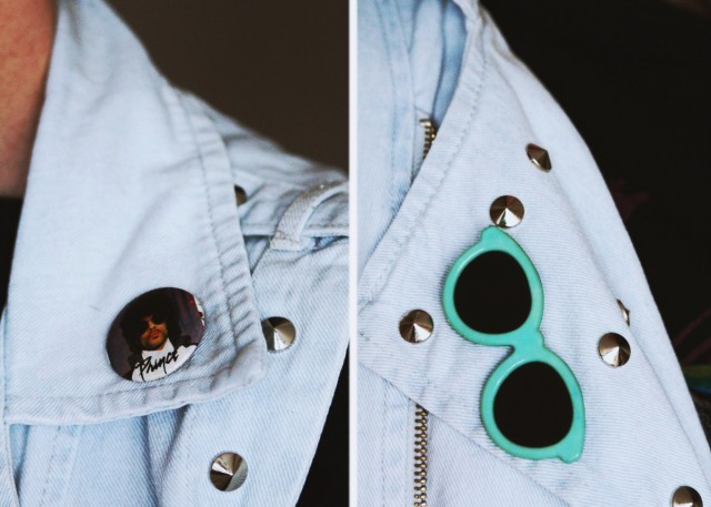Outfit details: light wash denim studded vest and vintage Prince and sunglasses pins