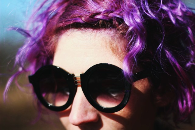 Outfit: leopard print coat, black dress, vintage blouse, lavender tights, round sunglasses, purple hair